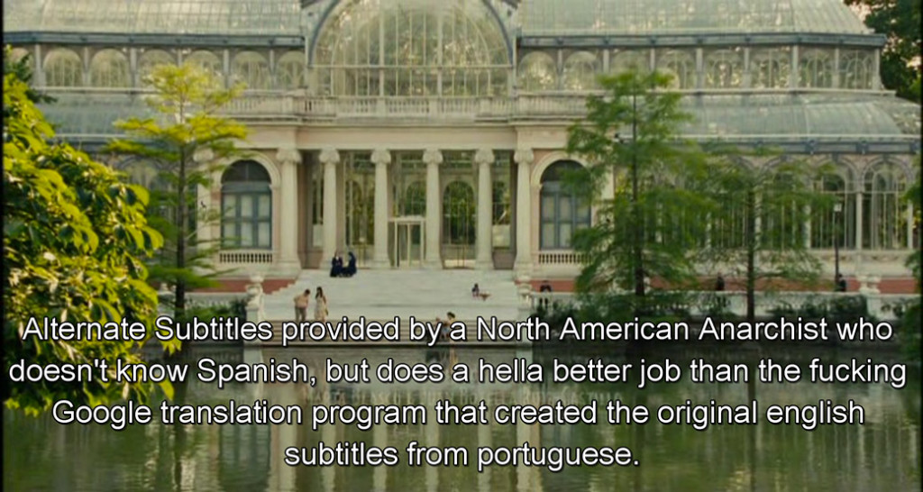 The english captions were machine-translated and then cleaned up by a North American anarchist who left their mark on the final scene.